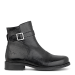 Abby low cut boot w. buckle detail, zipper inside