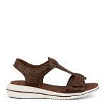 Leaf sandal w. removable t-bar in embossed leather